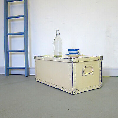 Cream Industrial Storage Trunk Chest Coffee Table Vintage Tools Box