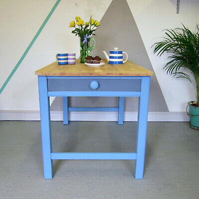 Vintage Antique Pine Formica Kitchen Old Retro Painted Blue Grey Dining Table
