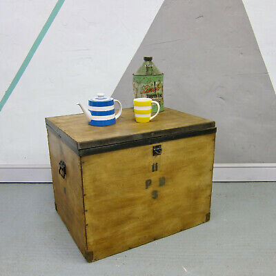 Vintage Storage Pine Plywood Box Crate Old Rustic Trunk Chest Coffee Table