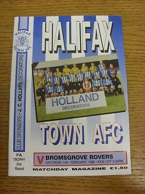 10/02/1985 Halifax Town v Bromsgrove Rovers [FA Trophy] . Footy Progs (aka bobfr