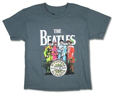 Beatles Sgt Peppers Costumes Kids Youth Charcoal Grey T Shirt New Official