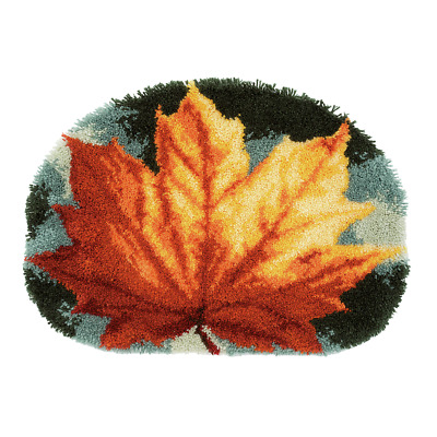 Autumn Leaf Latch Hook Kit  Rug Making Kit 70x50cm By Vervaco Inc tool & binding