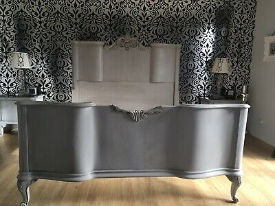 Antique Grey French King Size Bed