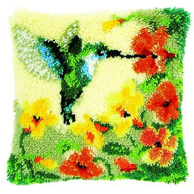 Hummingbird & Flowers Latch Hook Kit Cushion Front kit 40x40cm By Vervaco