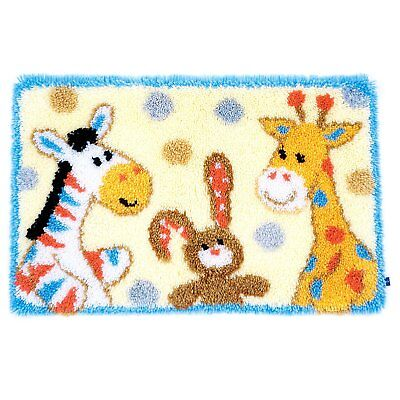 Furry Friends latch hook kit rug making kit 69x44cm printed canvas includes tool