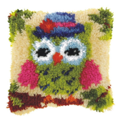 Green Owl (Small) Latch Hook Cushion Front Kit. Orchidea  25x25cm Printed canvas