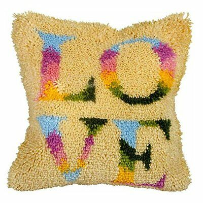 LOVE Latch Hook Cushion Front Kit. Orchidea, 40x40cm Printed canvas