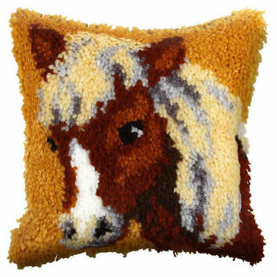 Pony  (Small) Latch Hook Cushion Front Kit. Orchidea  25x25cm Printed canvas