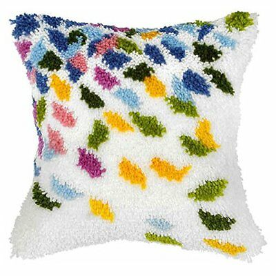 Large Confetti Latch Hook Cushion Front Kit. Orchidea, 40x40cm Printed canvas