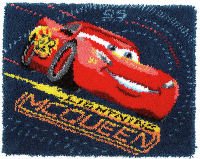Latch Hook Rug Lightning McQueen Screeching Tyres Disney Kit By Vervaco 69x56cm