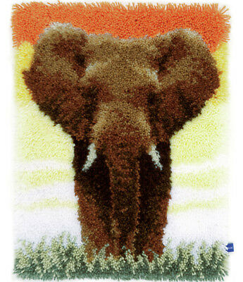 Savanna Elephant Latch Hook Kit By Vervaco 38x52cm with printed canvas