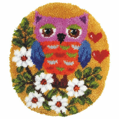 Shaped Owl Latch Hook Rug Making Kit. Orchidea, 55x47cm Printed canvas