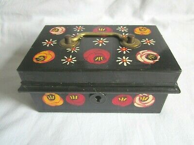 Vintage Metal Cash Tin Box Decorated with Barge Ware Design No Key