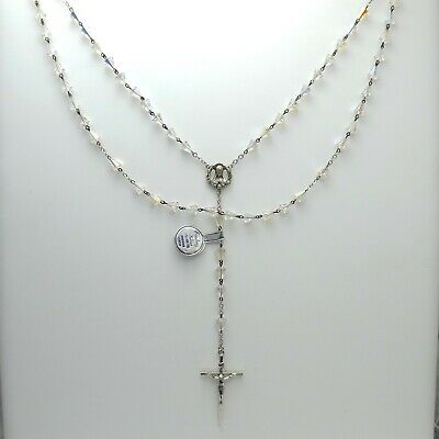 New Old Stock Sterling Silver Madonna Aurora Borealis Rosary Bead Necklace