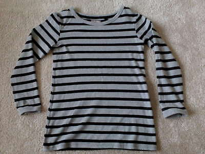 NEXT Girls Long Sleeved Black/Grey Striped Top 8 Yrs (Immaculate)