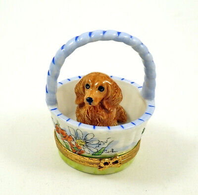 New French Limoges Trinket Box Cute Dachshund Dog Puppy In Floral Basket