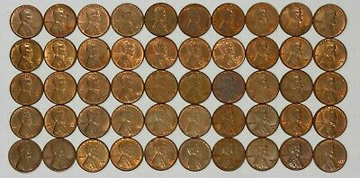 1949 D Lincoln Wheat Cent Penny 1C Choice Bu Brown / Rb Full Roll 50 Coins