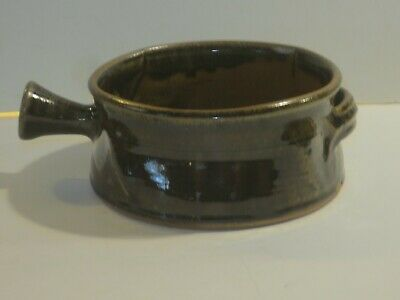 Peter Leach Vintage Studio Pottery Serving Bowl With Handle, Marked