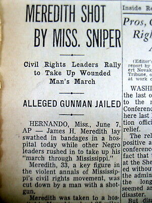 1966 newspaper Civil Rights JAMES MEREDITH SHOT by White racist in MISSISSIPPI