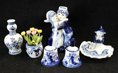 Collection Of 6x Vintage Hand Painted DELFT POTTERY ORNAMENTS/TRINKETS - G11