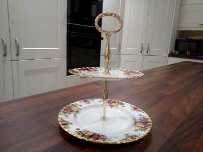Beautiful  Royal Albert Old Country Roses 2 Tier Cake Stand First Quality