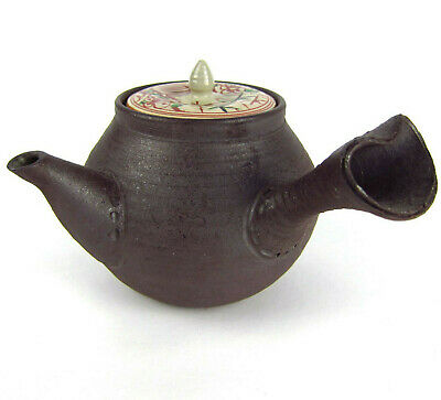 Antique Vintage Japanese Kyusu Purple Clay Yixing Teapot Signed Floral Lid