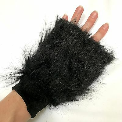 Fur Arm Cuffs Black Bands Fluffies Gloves Animal Costume Christmas Krampus A23