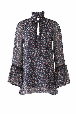 a9456bf6 See By Chloe Blue Women's Size 38 Floral Print Ruffle Trim Blouse $355- #164