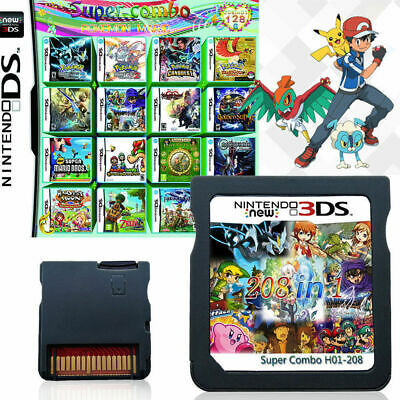 208 IN 1 Game Cartridge for Nintendo NDS NDSL 3DS 3DSLL/XL NDSI Pokemon Mario AU