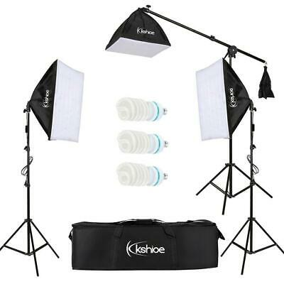 "86""Studio Photo Umbrella Softbox Continuous Lighting Kit Stand+3x45W Light Bulbs"