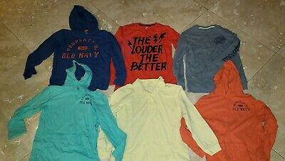 Lot 6 Old Navy Long Sleeve Boys Large Hoodie Polo Shirts EUC Orange Yellow Teal