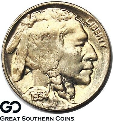 1934-D Buffalo Nickel, Brilliant Mint Luster, Nice Gem BU++