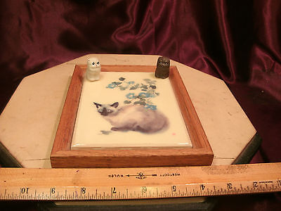 "Framed Arts & Crafts Style 6""x6"" Tile-LC Baron & 2 small pottery cats-free ship"