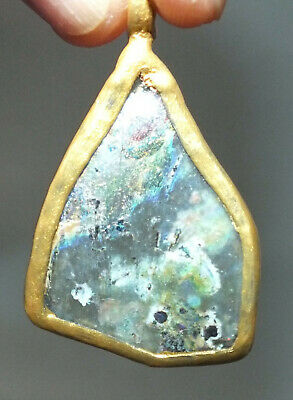 Ancient Roman Glass Pendant with Metal Mounting Afghanistan