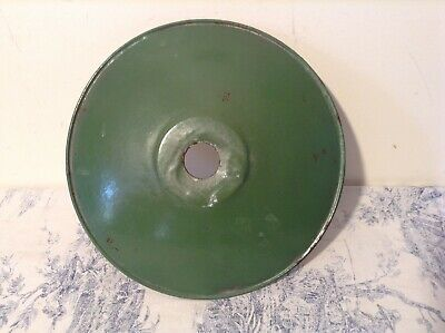 Original French Industrial Vintage Green Enamel Shade Coolie Light Shade (2577)