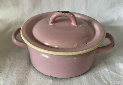Riess Topf mit Deckel, rosa, 12cm, vintage, emaille, email,