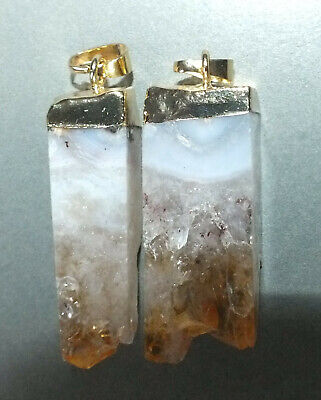 Two Citrine Quartz Pendants with Metal Mounting Thailand