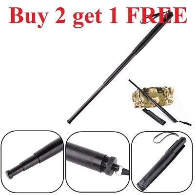 3 Section Telescopic Sticks Self-Defense Portable Retractable Outdoor Whip Black