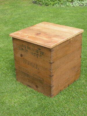Vintage Tea Chest With Lid. China Black Tea Dust. Great Storage + Small Table