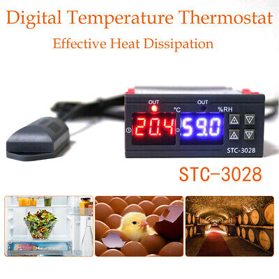 Digital Temperature Thermostat STC-3028 Controller -20℃~80℃ Heating Cooling NEW