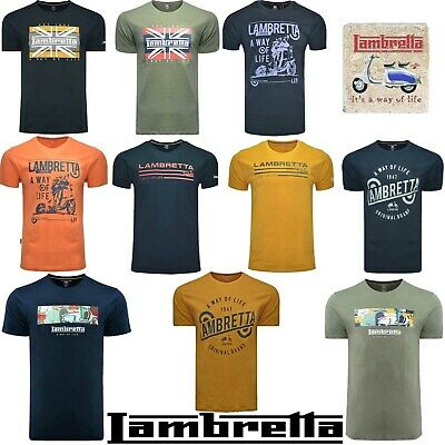 Lambretta T-Shirts Print Short Sleeve A Way Of Life Mens Retro Cotton UK S-4XL