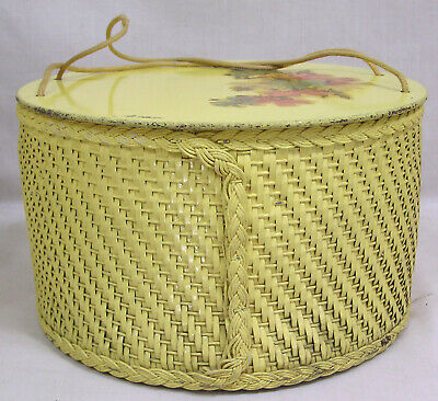 Vintage Wicker Sewing Basket Box Flowers on Wood Lid Yellow Round 1940s