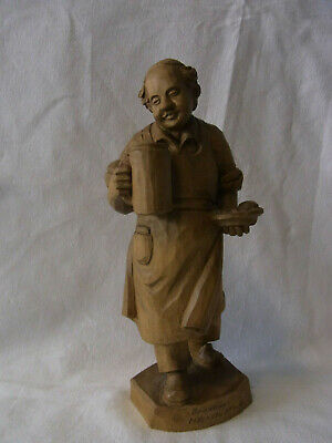 Vintage German Folk Art Hand Carved Wood Innkeeper #U