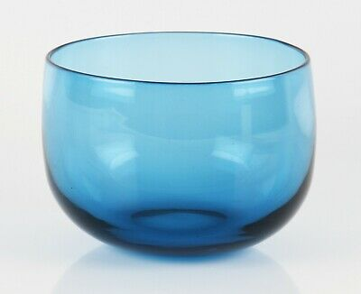antique early 20th Century blue glass finger bowl