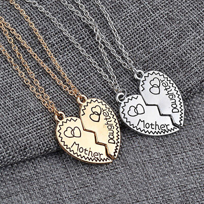 2x Mother Daughter Silver/Gold Love Heart Pendant Necklace Chain Family Gift FG