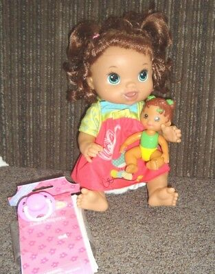 Baby Alive Hasbro 2011 brunette doll with accessories PACIFIER DIAPERS DOLL EUC