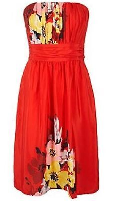 George Size 10 Red Floral Bandeau Strapless Summer Beach Dress Hols Us 6 Eu 38