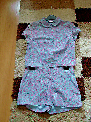 v by very girls pink and blue shorts and top set uk sz 13 yrs nwot