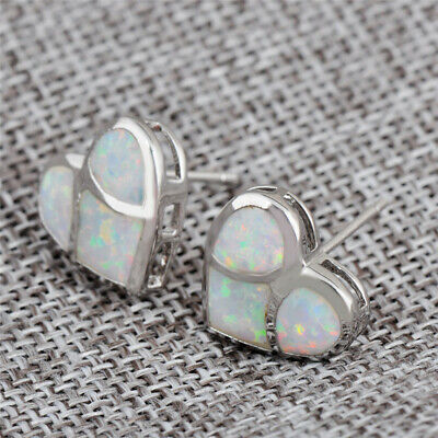 Exquisite heart Silver Filled  White Fire Opal Ear Stud Earring Wedding Jewelry