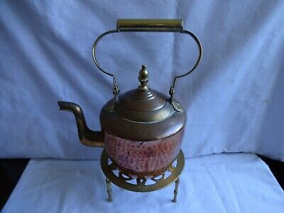 Antique Small Hammered Copper & Brass Art & Crafts Kettle & Trivet